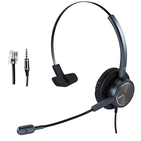 Telephone Headset Rj9 Jack With Noise Cancelling Mic With Extra 3 5mm Connetor For Mobiles Compatible With Avaya Nortel Aastr Walmart Com Walmart Com