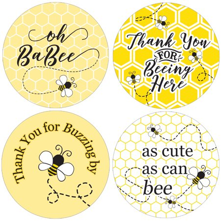 - Bumble Bee Baby Shower Favor Stickers 40ct | 1 3/4 inch | Thank You Tag Labels