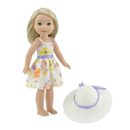 Emily Rose 14 Inch Doll Clothes | Floral, Chiffon Doll Dress with Purple Trim, Including White Hat with Matching Ribbon | Fits 14