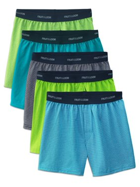 Fruit of the Loom Stripe and Solid Cotton Knit Boxers, 5 Pack (Little Boys & Big Boys)