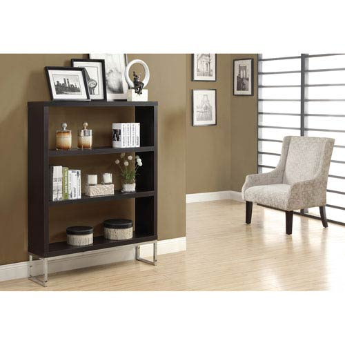 Bookcase - 60H / Cappuccino / Chrome Metal Room Divider
