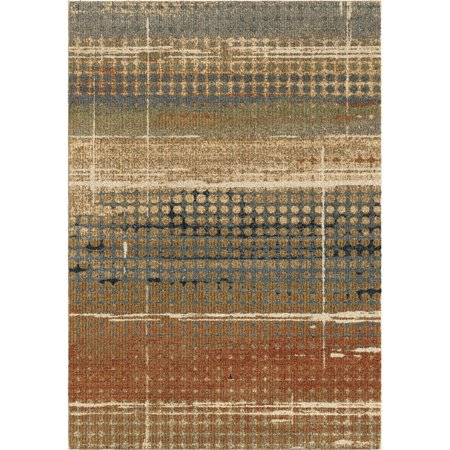 Orian Next Generation Area Rugs 4400 Transitional Beige Rows Bars Banded Dots Rug
