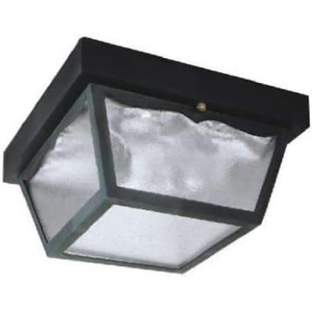 2 Light Ceiling Fixture High Impact Black Plastic Finish Outdoor Only