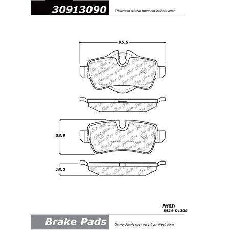 Go-Parts OE Replacement for 2007-2016 Mini Cooper Rear Disc Brake Pad Set for Mini Cooper (Base / Clubman / Coupe / Coupe John Cooper Works / Coupe S / John Cooper Works /)