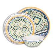 222 Fifth Porto Santo Mixed 12-Piece Melamine Dinnerware Set