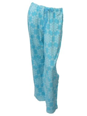 Soft Sensations Womens Blue & White Snowflake Flannel Sleep Pants pjs pajamas