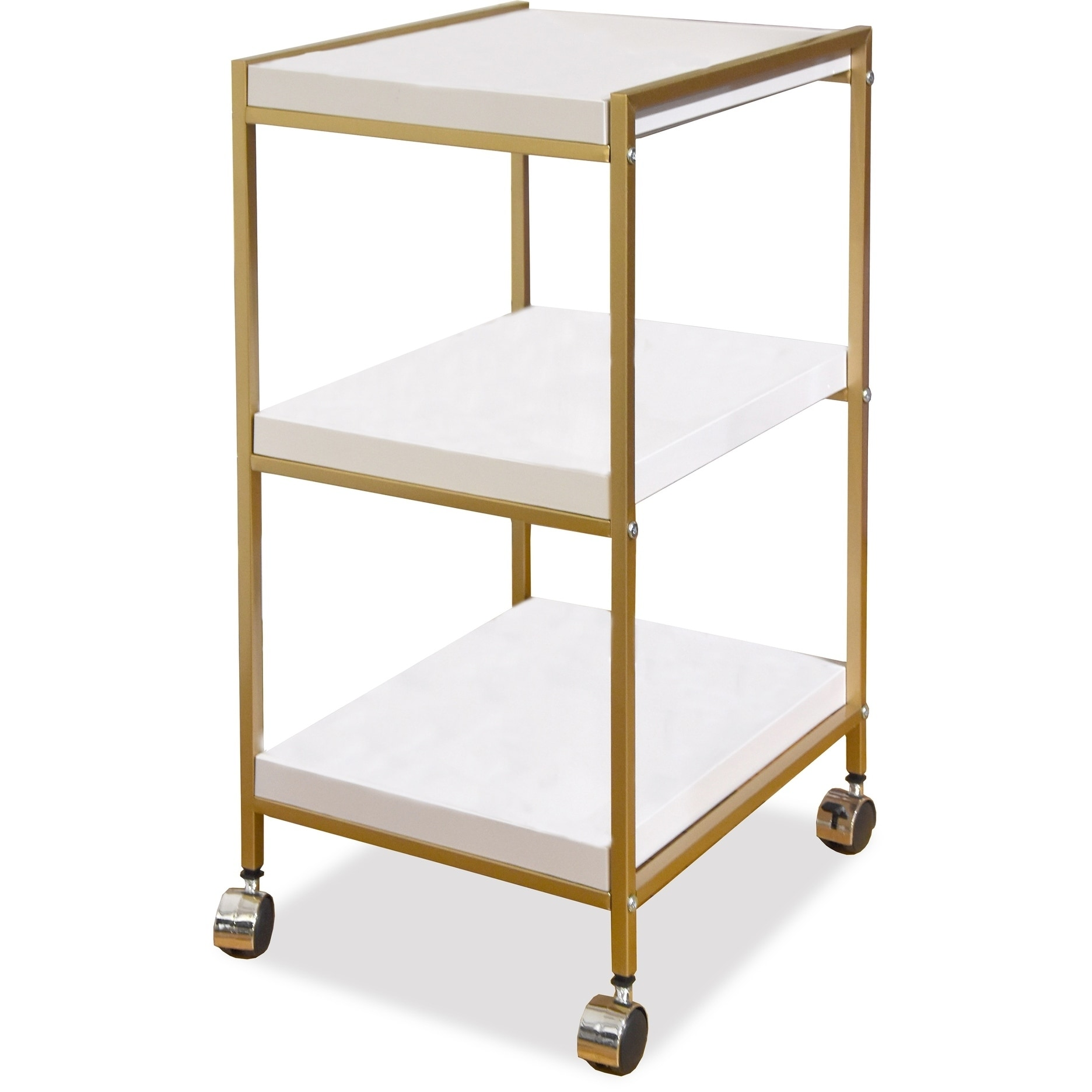Idea Nuova White and Gold 3-Tier Rolling Cart