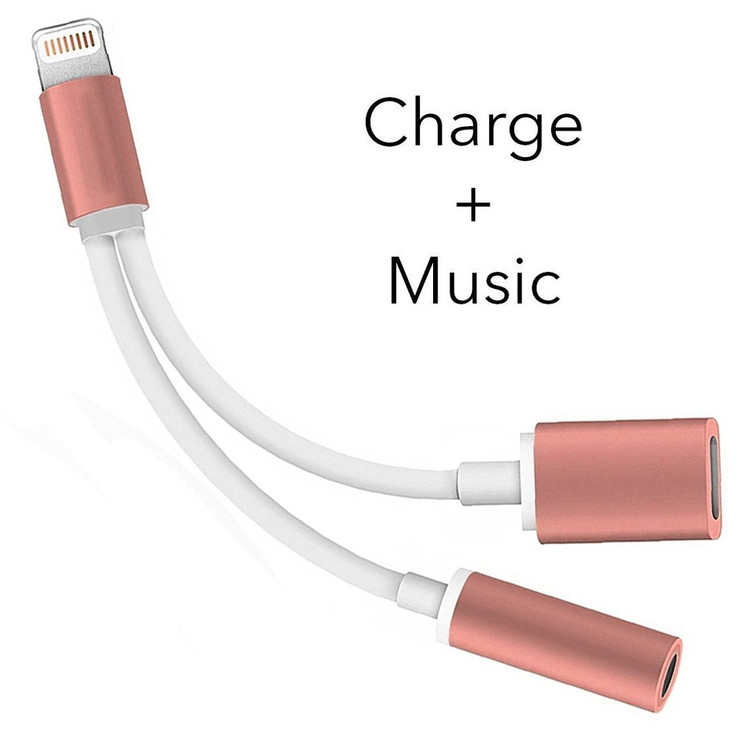 2 in 1 Lightning for iPhone 7 Adapter, iphone 7 Plus Adapter Lightning to 3.5mm Aux Headphone Jack and Charger Cable for iPhone 7 / 7 plus-pink