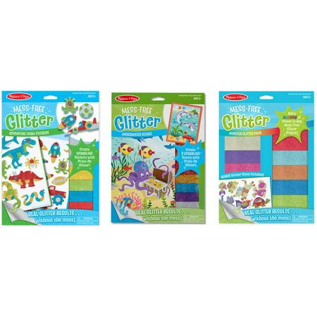 - Melissa & Doug Mess-Free Glitter Activity Kits Set - Underwater Scenes, Adventure Foam Stickers, and Booster Glitter Pack