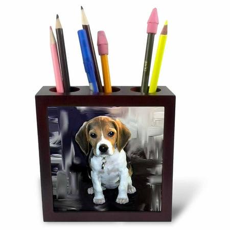 Beagle Tile Box - 3dRose Beagle, Tile Pen Holder, 5-inch
