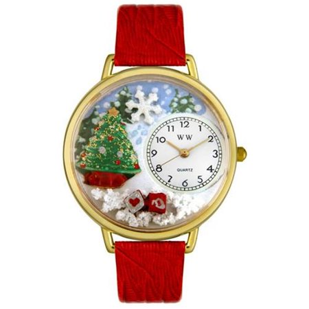 Christmas Tree Red Leather And Goldtone Watch - image 1 de 1