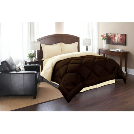 Down Alternative Comforter Reversible 3-Piece Bedding Set, 90 GSM Twin,