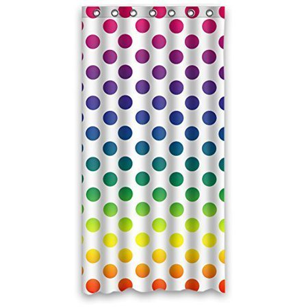 GreenDecor Polka Dots Waterproof Shower Curtain Set with Hooks Bathroom Accessories Size 36x72 inches (Dot Shower Curtain Hooks)