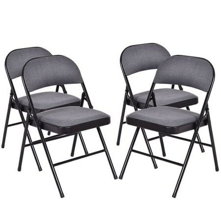 Costway Fabric Padded Folding Chair (Set of 4) - Padded Folding Chair
