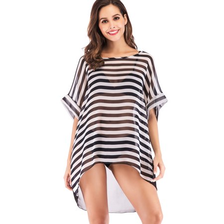 Womens Beach Bikini Shirt Cover up Chiffon Stripe Swim O Neck Loose Bathing Suit Cover-up Summer Swimsuit Swimwear