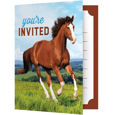 Horse Party Invitations (Creative Converting 340132 Wild Horse Invitations, 8)