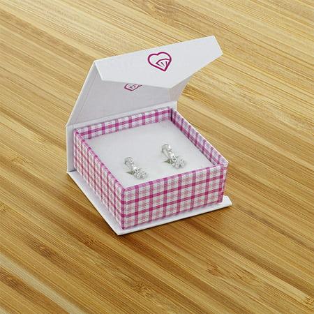 """925 Sterling Silver Pink CZ Small Hoop Huggie Dangle Flower Earrings Girls 0.39"""" - image 4 of 5"""