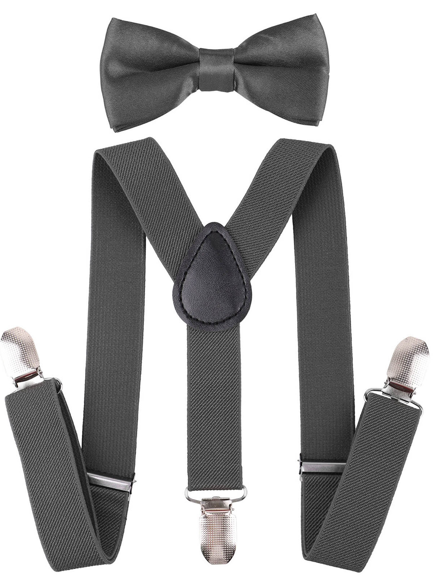 Suspenders and Pre Tied Bowtie Y Shape Clip Suspender for Kids, Black