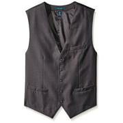 perry ellis men's big-tall solid vest, charcoal heather, 4x