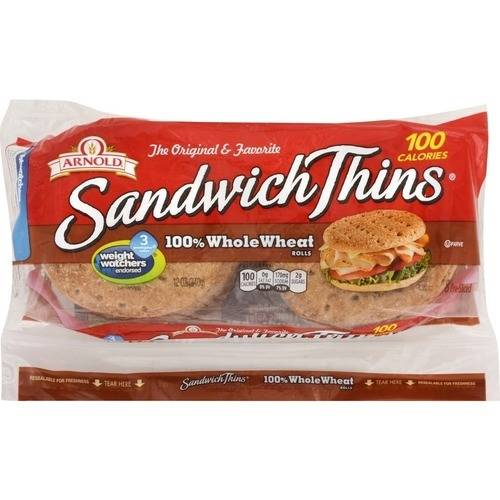 Arnold Select 100% Whole Wheat Pre-Sliced Sandwich Thins, 8 Ct