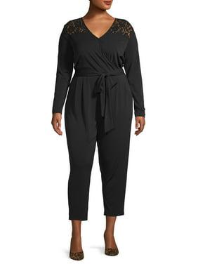 Concepts Women's Plus Size Long Sleeve Faux Wrap Jumpsuit with Lace Detail