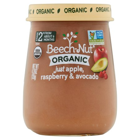 Beech Nut Organic  Stage 2 Just Apple  Raspberry   Avocado Stage 2 Baby Food  4 25 Oz   Pack Of 10