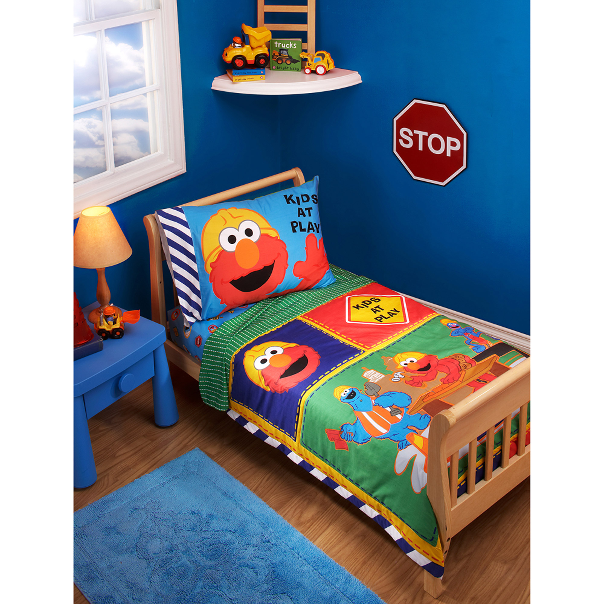 Sesame Street Construction Zone 3-Piece Toddler Bedding Set with BONUS Matching Pillow Case