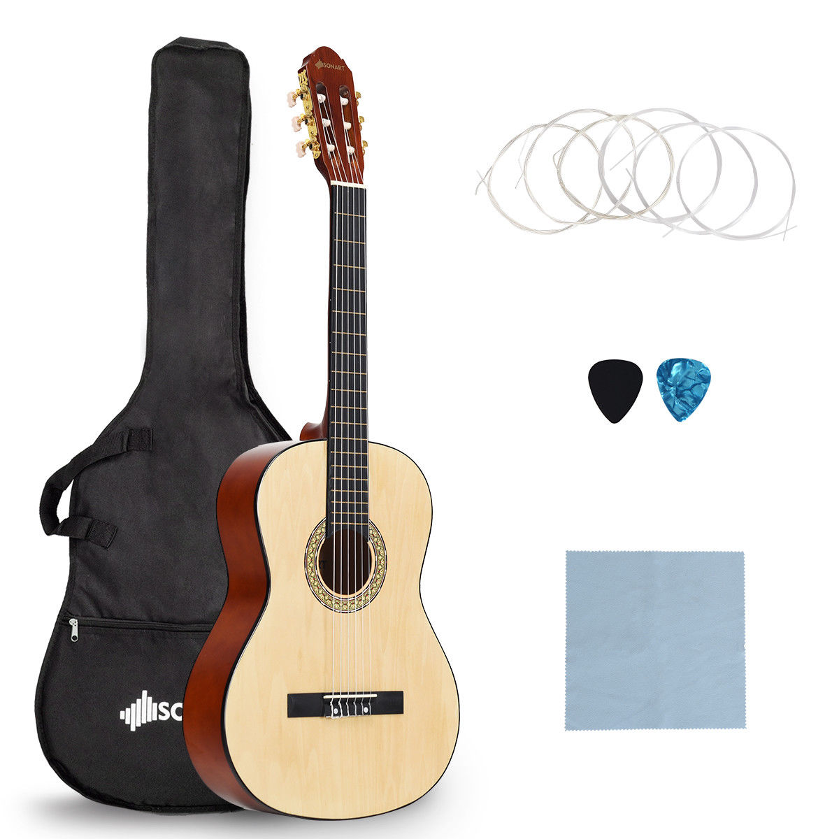 Sonart 39'' Full Size Classical Guitar 10 String w/Bag Pick Strings Cleaning Cloth