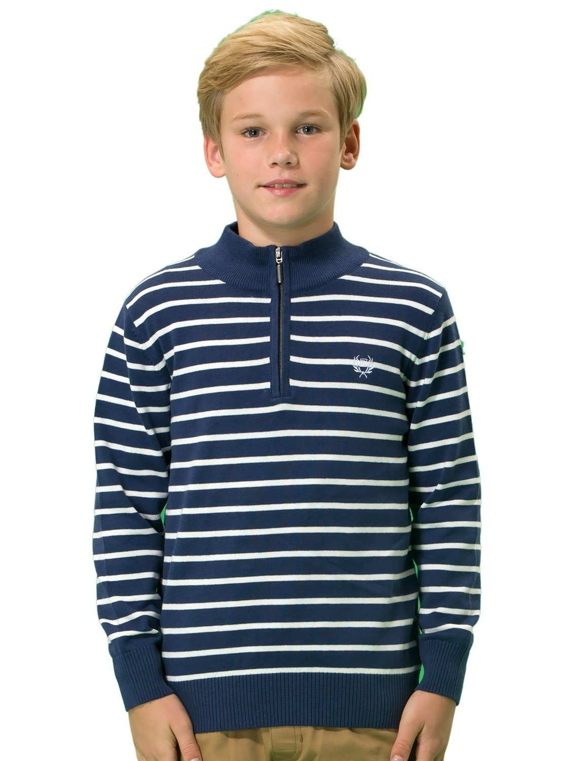 Leo&Lily Boys' Wool Blends Casual Pullover Zipper Front Sweater