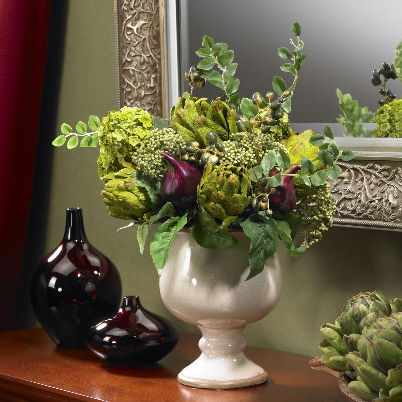 Artichoke And Hydrangea Silk Flower Arrangement Walmart