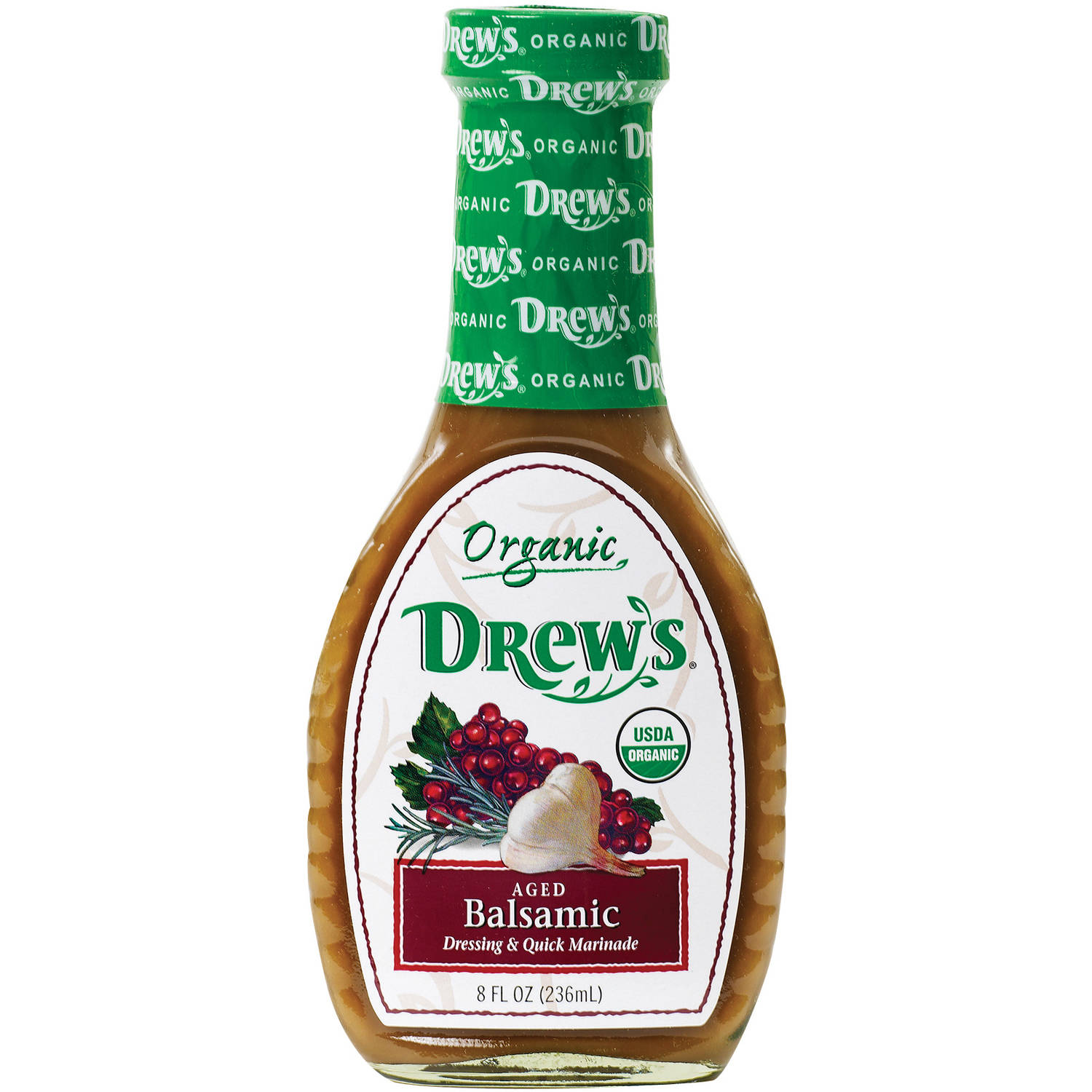 Drew's Organic Aged Balsamic Dressing & Quick Marinade, 8 fl oz, (Pack of 6)