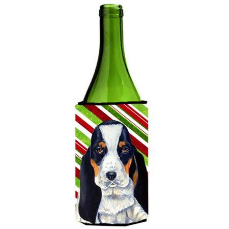 Basset Hound Candy Cane Holiday Christmas Wine bottle sleeve Hugger - 24 oz. - image 1 of 1