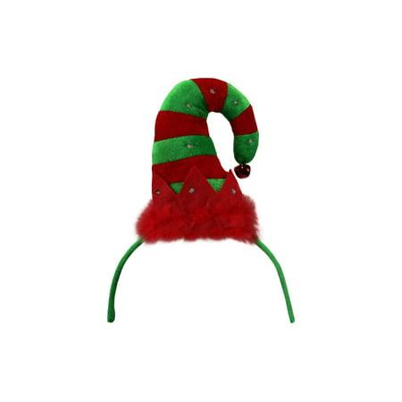 Light Up Christmas Helper Elf Hat Headband LED Red Green Striped Bell Accessory (Christmas Star Headband)