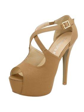 ecade12e17d Product Image Unique Bargains Women s Peep Toe High Heel Crisscross Straps  Platform Sandals Brown (Size ...