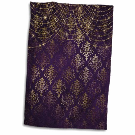 Faux Sparkles - 3dRose Pretty Faux Gold Damask On Purple With Sparkle String Lights - Towel, 15 by 22-inch