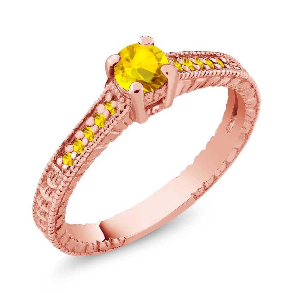 0.46 Ct Round Yellow VS Sapphire 18K Rose Gold Engagement Ring
