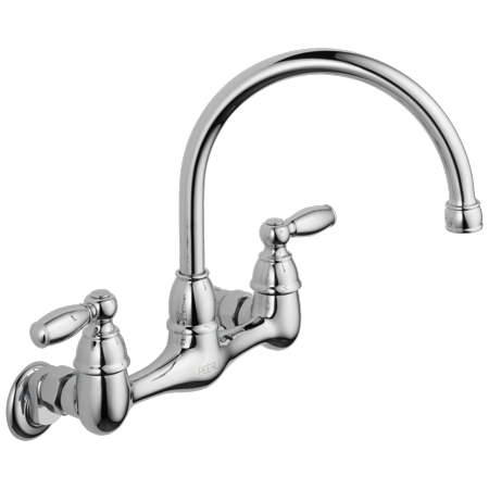 Peerless Claymore Two Handle Wall-Mount Kitchen Faucet in Chrome -