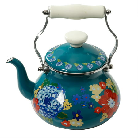 The Pioneer Woman Dazzling Dahlias 2 Quart Tea Kettle, Teal