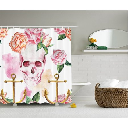 Skull Shower Curtain Decorations By Nautical Anchor Flowers Roses And Peonies Vintage Art Decor Painting Polyester Fabric Bathroom Set With Hooks