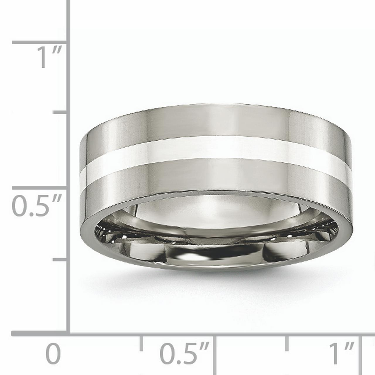Titanium 925 Sterling Silver Inlay Flat 8mm Wedding Ring Band Size 7.00 Precious Metal Fine Jewelry Gifts For Women For Her - image 5 de 6