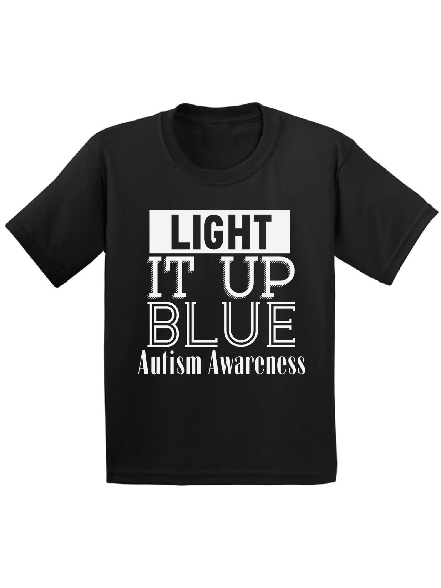 Awkward Styles Light It Up Blue Autism Awareness Shirt for Toddlers Autism Awareness Kids Tshirt Autism Shirt for Kids Autism Gifts for Boys and Girls Light It Up Blue Shirt Blue for Autism T Shirts