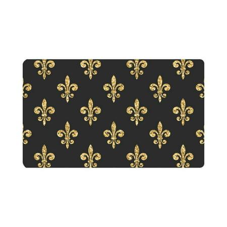 MKHERT Gold Glitter Fleur De Lis Floral Doormat Rug Home Decor Floor Mat Bath Mat 30x18 inch ()