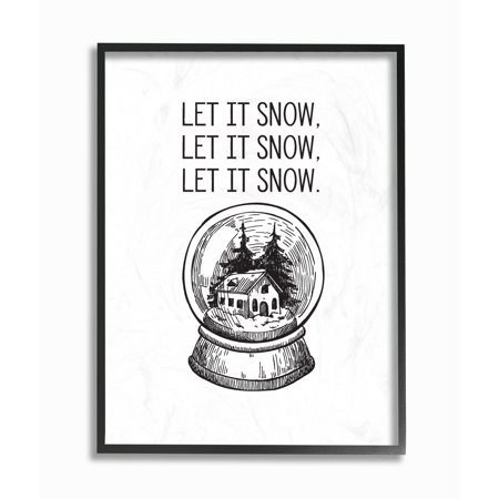 Globe Plaque - The Stupell Home Decor Collection Christmas Let It Snow Globe Oversized Framed Giclee Texturized Art