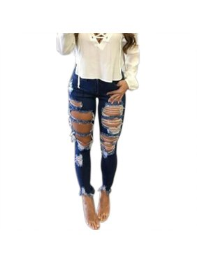 Women's Denim Stretch Jeans Skinny Destroyed High Waist Casual Trousers