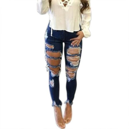 Womens Denim Ripped Stretch Jeans Skinny Destroyed Pants High Waist Casual Trouser