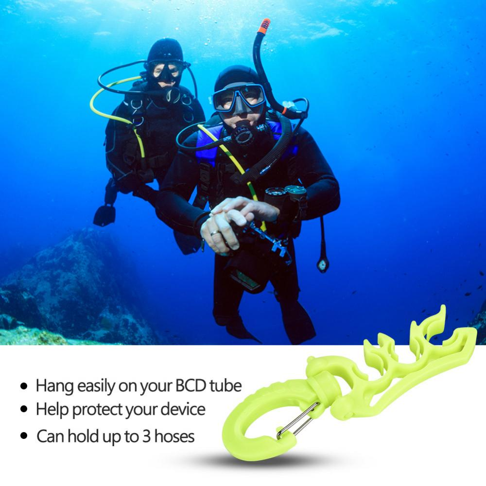 Fosa Keep Diving 3 Colors Diving Underwater Plastic Double BCD Hose Holder with Clip Buckle Hook, Diving Hose Holder, Hose Holder