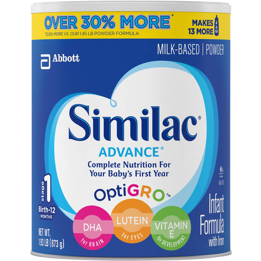 Similac Advance Infant Formula with Iron Powder, Stage 1, 1.93lb canister