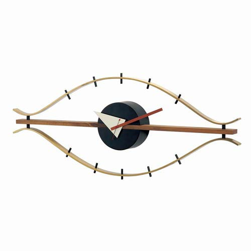 George Nelson Classic Brass Eye Clock with Wood Trim