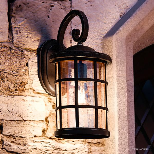 """Urban Ambiance Luxury Craftsman Outdoor Wall Light, Medium Size: 17.75""""H x 10""""W, with Tudor Style Elements, Wrought Iron Design, Oil Rubbed Parisian Bronze Finish and Seeded Glass, UQL1045"""
