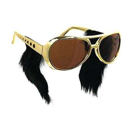 Gold Frame Classic Elvis Costume Sunglasses w/ Sideburns - Fake Sideburns